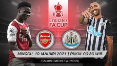 Indosport - Berikut link live streaming pertandingan putaran ketiga Piala FA antara Arsenal vs Newcastle United, pada Minggu (10/1/2021) pukul 00:30 dini hari WIB.