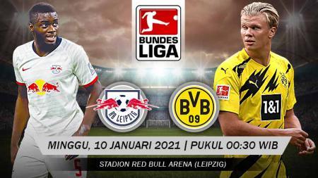 Berikut tersaji link live streaming pertandingan Bundesliga Jerman antara Red Bull Leipzig vs Borussia Dortmund yang akan berlangsung pada Minggu (10/01/21). - INDOSPORT