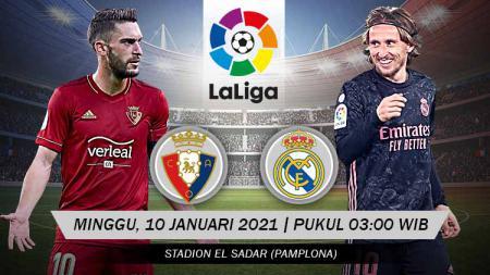Berikut tersaji link live streaming pertandingan sepak bola LaLiga Spanyol 2020-2021 antara Osasuna vs Real Madrid yang akan berlangsung pada Minggu (10/01/21). - INDOSPORT