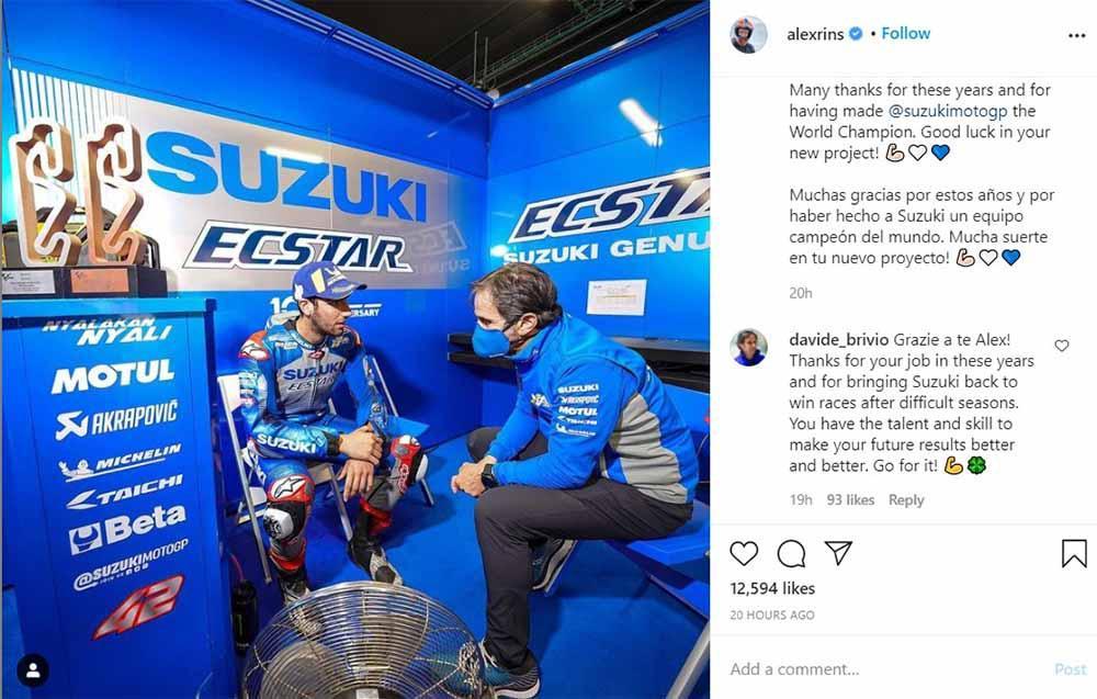 Status Instagram pembalap Team Suzuki Ecstar asal Spanyol, Alex Rins. Copyright: Instagram@alexrins