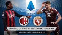 Indosport - Duel AC Milan vs Torino di pekan ke-17 Serie A Liga Italia dapat disaksikan secara streaming, Minggu (10/01/21) dini hari WIB.
