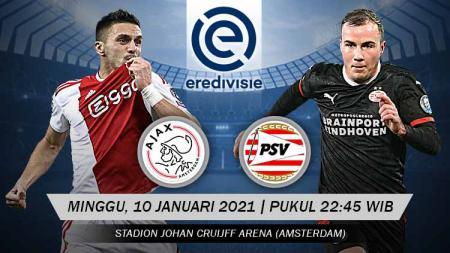 Prediksi laga Big Match antara AFC Ajax menghadapi PSV Eindhoven pada pekan ke-14 Liga Belanda di Stadion Johan Cruyff Arena, Minggu (10/01/21) malam WIB. - INDOSPORT