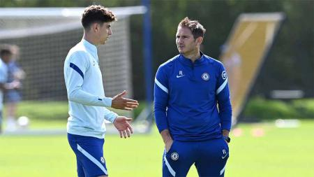 Pemain Chelsea, Kai Havertz dan pelatih Chelsea Frank Lampard. - INDOSPORT