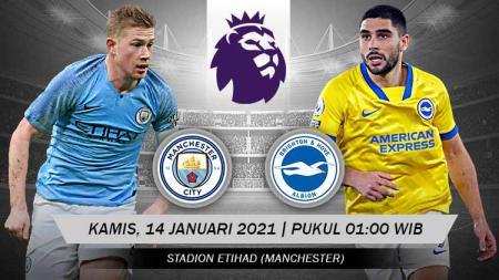Pertandingan pekan ke-17 Liga Inggris 2020/21 akan mempertemukan Manchester City melawan Brighton and Hove Albion. - INDOSPORT