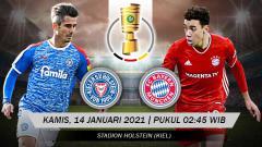 Indosport - Babak putaran kedua DFB-Pokal 2020/21 menampilkan laga menarik antara Holstein Kiel vs Bayern Munchen. Pertandingan ini bakal dimainkan di Holstein Stadion.