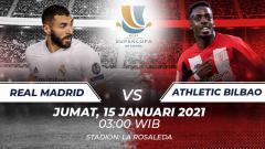 Indosport - Jadwal Piala Super Spanyol Hari Ini: Real Madrid vs Athletic Bilbao.