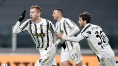 Indosport - Para pemain Juventus merayakan gol penting atas Genoa