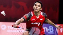 Indosport - Pertandingan antara Jonatan Chrstie (Indonesia) vs Jason Anthony Ho-Shue (Kanada) di Thailand Open 2021.
