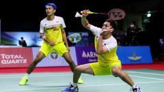 Indosport - Pertandingan antara Fajar Alfian/M Rian Ardianto (Indonesia) vs Leo Rolly Carnando/Daniel Martin (Indonesia) di Thailand Open 2021.