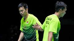 Indosport - Berikut hasil pertandingan bulutangkis Toyota Thailand Open 2021 antara Pramudya Kusumawardana/Yeremia Erich Yoche Rambitan vs Mohammad Ahsan/Hendra Setiawan.