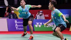 Indosport - Pasangan Leo Rolly Carnando/Daniel Marthin kandas di perempat final Swiss Open 2021, gelar Fajar Alfian/M. Rian Ardianto terancam direbut.