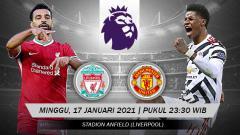 Indosport - Berikut tersaji link live streaming big match Liga Inggris 2020-2021 antara Liverpool vs Manchester United yang akan bertempat di Anfield Stadium.