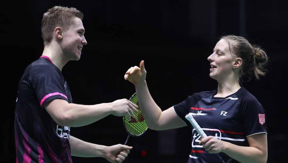 Pasangan ganda campuran Prancis, Thom Gicquel/Delphine Delrue. Copyright: Twitter@bwfmedia