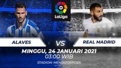 Indosport - Berikut tersaji prediksi pertandingan LaLiga Spanyol 2020-2021 antara Deportivo Alaves vs Real Madrid yang akan diselenggarakan di Stadion Mendizorroza.