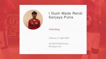 Pemain Garuda Select 3, I Gusti Made Rendy Sanjaya Putra. - INDOSPORT