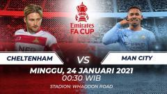 Indosport - Berikut link live streaming pertandingan Piala FA putaran keempat yang mempertemukan Cheltenham vs Manchester City.