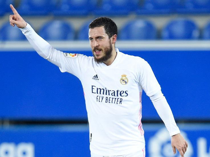 Eden Hazard melakukan selebrasi usai mencetak gol di laga Alaves vs Real Madrid Copyright: @realmadriden
