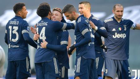 Pemain Juventus lakukan selebrasi saat laga kontra Bologna - INDOSPORT