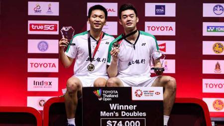 Pasangan ganda putra asal Thaiwan, Lee Yang/Wang Chi-Lin. - INDOSPORT