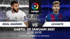 Indosport - Berikut link live streaming pertandingan LaLiga Spanyol pekan ke-21 yang akan mempertemukan Real Madrid vs Levante.