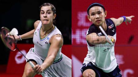 Pebulutangkis tunggal putri Spanyol, Carolina Marin, dan pebulutangkis Taiwan, Tai Tzu Ying. - INDOSPORT
