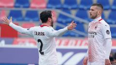 Indosport - Selebrasi gol Ante Rebic di Laga Serie A Italia Bologna vs AC Milan