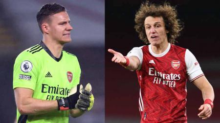 Penggawa Arsenal, Bernd Leno dan David Luiz. - INDOSPORT