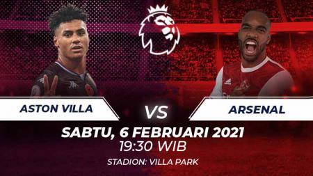 Berikut link live streaming pekan ke-23 Liga Inggris 2020/21 antara Aston Villa vs Arsenal pada Sabtu (06/02/21) pukul 19:30 WIB. - INDOSPORT