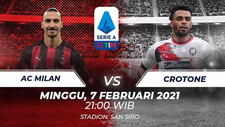 Link Live Streaming Serie A Liga Italia: AC Milan vs Crotone