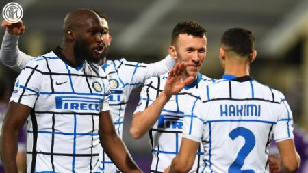 Para pemain Inter Milan saat selebrasi usai cetak gol - INDOSPORT