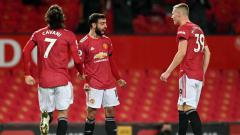 Indosport - Selebrasi gol Bruno Fernandes di laga Manchester United vs Everton.