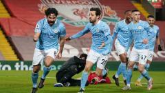 Indosport - Selebrasi gol Ilkay Gundogan di laga Liverpool vs Manchester City.