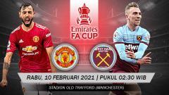 Indosport - Babak putaran kelima Piala FA 2020/21 menampilkan duel menarik antara Manchester United vs West Ham United. Pertandingan ini bakal dimainkan di Old Trafford.