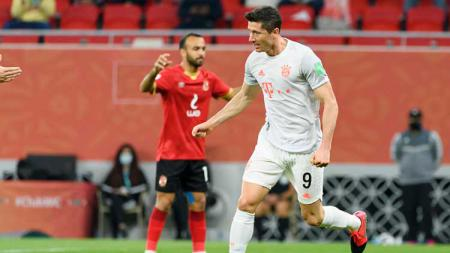 Selebrasi gol Robert Lewandowski di laga Al Ahly vs Bayern Munchen. - INDOSPORT