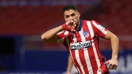 Selebrasi gol Luis Suarez di laga LaLiga Spanyol Atletico Madrid vs Celta Vigo. - INDOSPORT