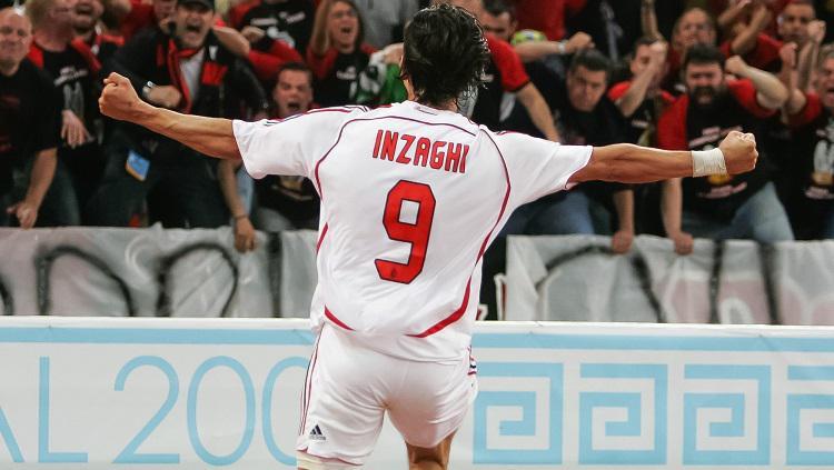 Selebrasi striker legendaris AC Milan, Filippo Inzaghi. Copyright: UEFA Champions League