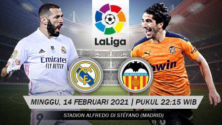 Prediksi pertandingan Real Madrid yang menjamu tamunya Valencia di lanjutan pekan ke-23 LaLiga Spanyol, Minggu (14/02/21) malam WIB. - INDOSPORT