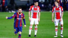 Indosport - Selebrasi gol Lionel Messi di laga Barcelona vs Alaves.