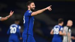 Indosport - Selebrasi gol Olivier Giroud dalam pertandingan Liga Inggris antara Chelsea vs Newcastle United, Senin (15/2/21).