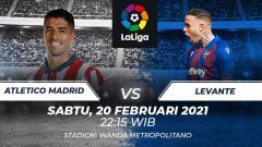 Indosport - Atletico Madrid akan kembali bersua dengan Levante pada pekan ke LaLiga Spanyol. Laga ini akan digelar di Stadion Wanda Metropolitano, Sabtu (20/02/21) malam.
