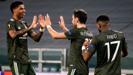 Gelandang Manchester United, Bruno Fernandes, dalam pertandingan Liga Europa kontra Real Sociedad, Kamis (18/2/21). - INDOSPORT