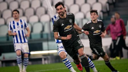 Bruno Fernandes usai mencetak gol ke gawang Real Sociedad - INDOSPORT