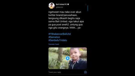 Status Twitter Bali United FC setelah dibajak. - INDOSPORT
