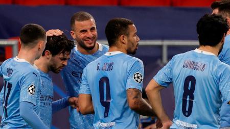 Ekspresi bintang Manchester City, Bernardo Silva, usai membobol gawang Mochengladbach dalam pertandingan Liga Champions, Rabu (24/2/21). - INDOSPORT