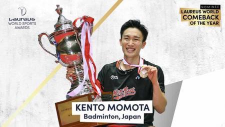 Kento Momota masuk nominasi penghargaan Laureus World Sport Award 2021. - INDOSPORT
