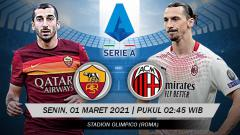 Indosport - Membedah duel antarlini pertandingan Big Match antara AS Roma vs AC Milan pada lanjutan pekan ke-24 Liga Italia 2020-2021.