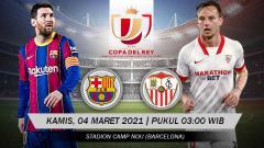 Indosport - Berikut prediksi pertandingan leg 2 semifinal Copa del Rey antara Barcelona vs Sevilla, Kamis (04/03/21) dini hari dengan Blaugrana tertinggal 0-2 di leg 1.