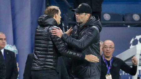 Pelatih Chelsea Thomas Tuchel dan pelatih Liverpool Juergen Klopp. - INDOSPORT
