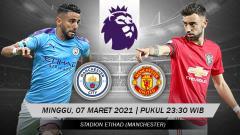 Indosport - Link live streaming pertandingan lanjutan pekan ke-27 kompetisi Liga Inggris musim 2020-2021 antara Manchester City vs Manchester United.