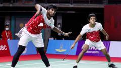 Indosport - Pasangan ganda putra India, Satwiksairaj Rankireddy/Chirag Shetty.